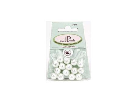 Staklene bež perle promjera 10 mm. U pakiranju je 15 komada.